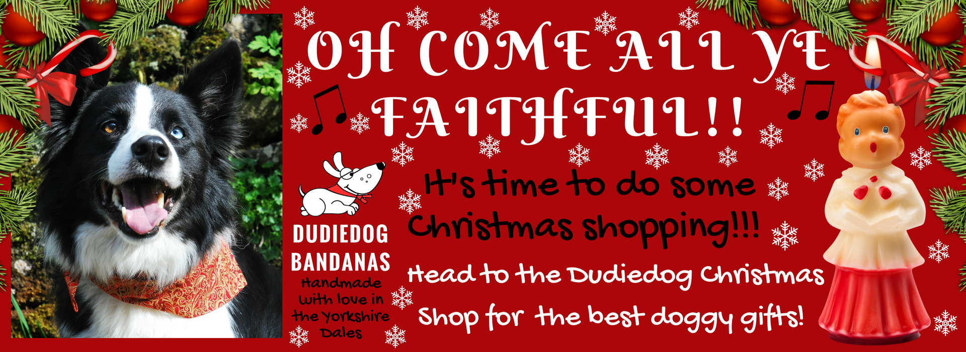 Dudiedog Bandanas Christmas dog shop for the best Christmas dog bandanas, bow ties and dog bibs UK. Fab gifts for dogs!