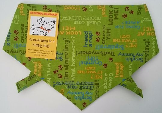 DOGGY TEXT DOG BANDANA (GREEN)