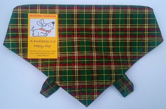 GREEN & GOLD TARTAN DOG BANDANA BY DUDIEDOG BANDANAS / CHRISTMAS DOG GIFTS