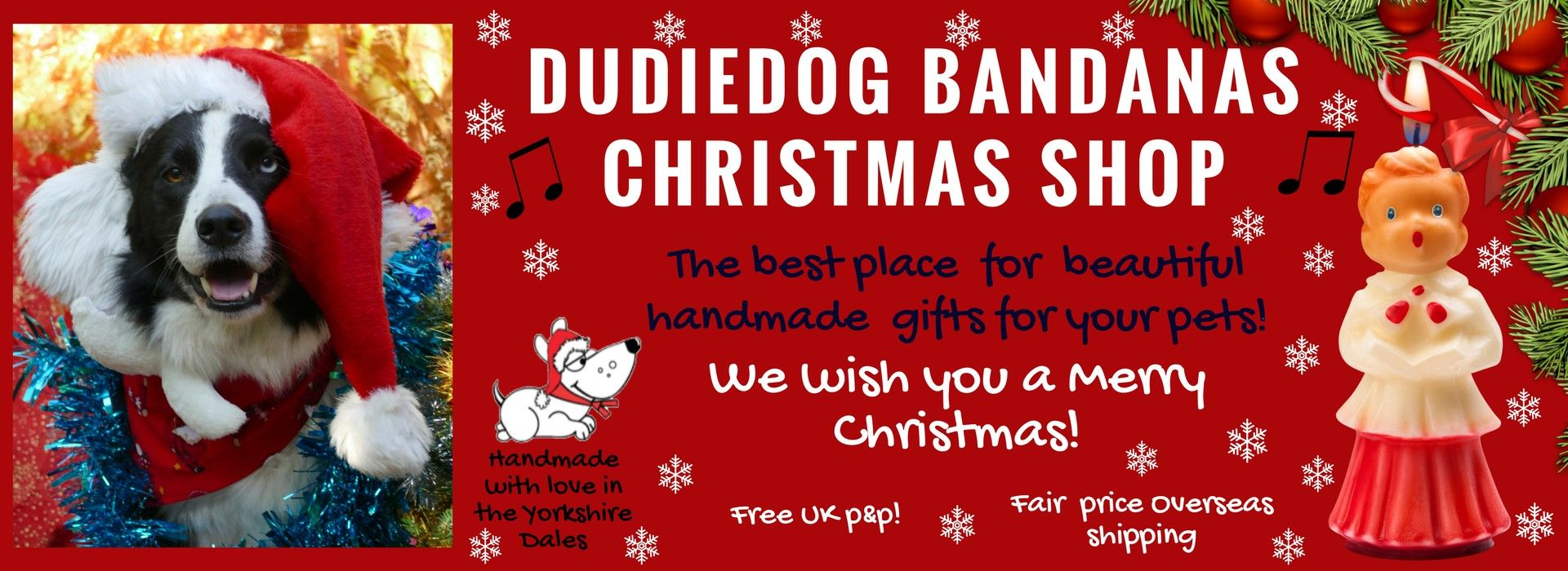 The best Christmas gifts for dogs in 2019 is Dudiedog Bandanas Christmas dog shop. Christmas dog Bandanas, Bow ties and bibs UK