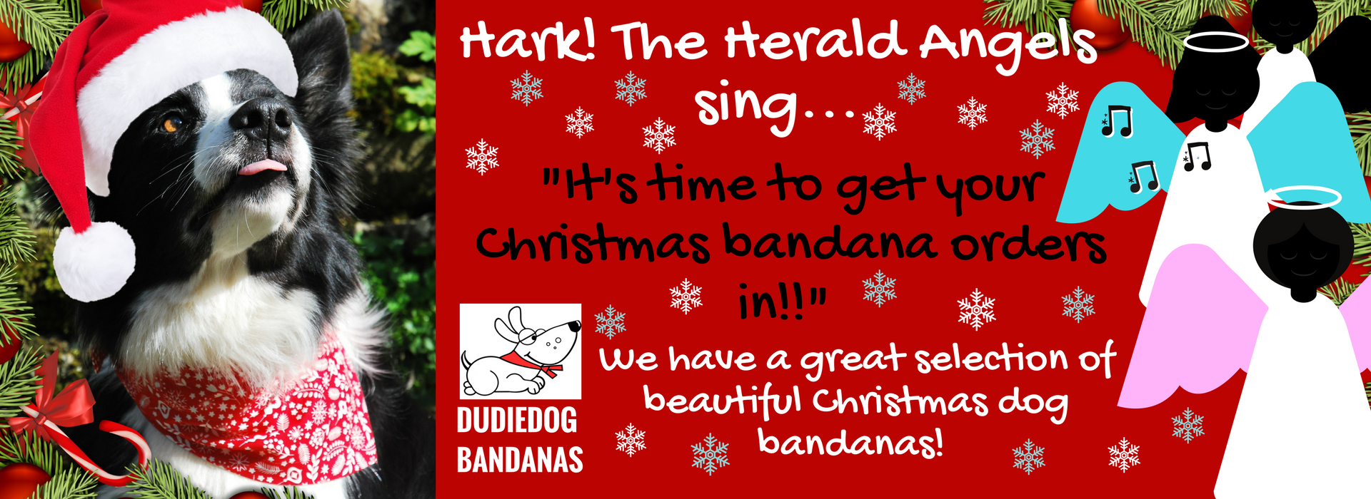 The best Christmas gifts for dogs at the Dudiedog Bandanas Christmas dog shop UK! christmas dog bandanas and bows ties