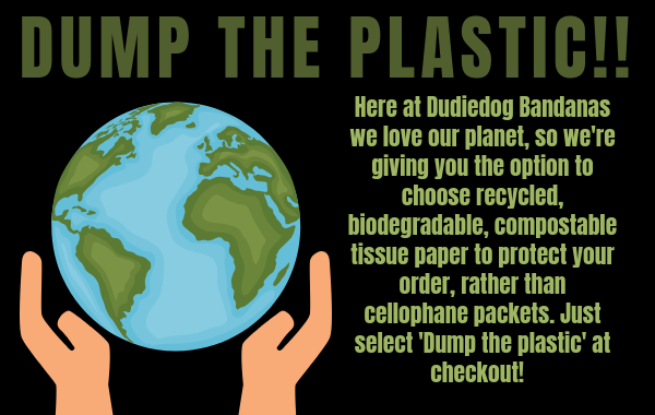 eco friendly plastic free packaging is now our standard at Dudiedog Bandanas
