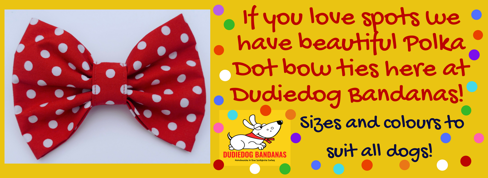 The best polka dot dog bandanas and superstar bandanas by Dudiedog Bandanas UK