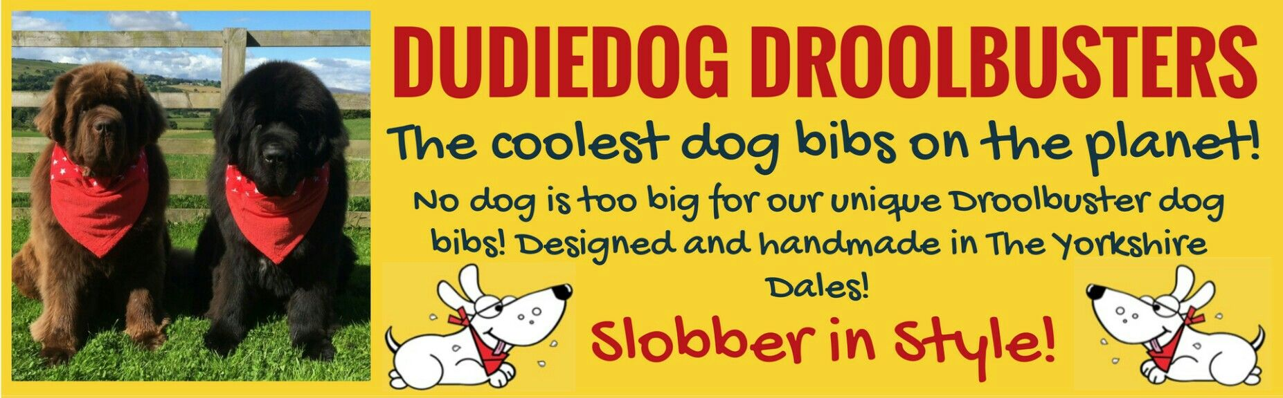 Choose Dudiedog Bandanas for the most stylish and practical dog bibs to fit the biggest drooling dogs! Free UK delivery